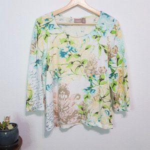 Chico's Top White w/Print 3/4 Sleeve Size 2(12/14)